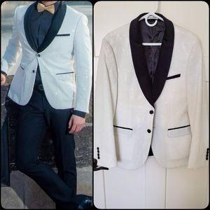 Other - Men Groom Sequin Slim White Tuxedo Blazer Jacket